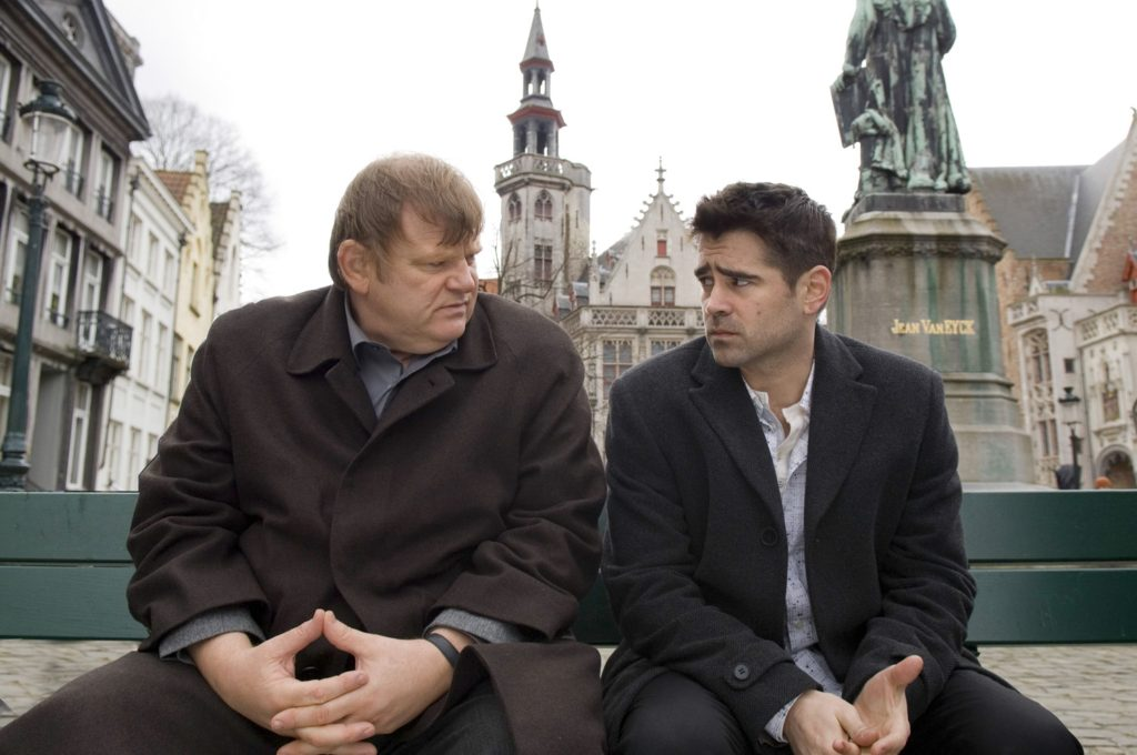 (l-r.) Brendan Gleeson and Colin Farrell star in Martin McDonagh's IN BRUGES, a Focus Features release.
